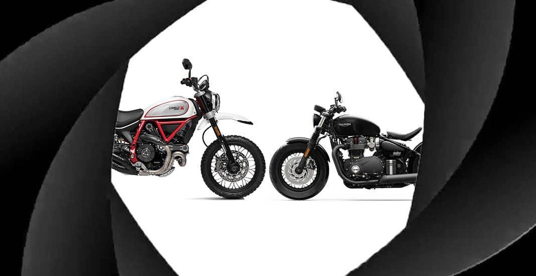 Triumph Bonneville Bobber Black Ducati Scrambler Desert Sled James Bond No Time to Die