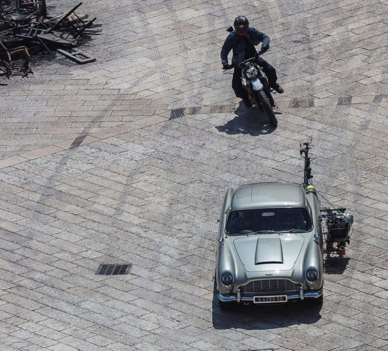 Ducati Scrambler Desert Sled chasing Aston Martin DB5 in Italy during filming of James Bond No Time To Die in Matera Italy