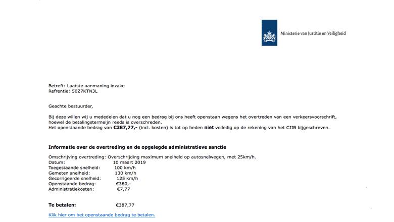 Een fake-mail van het CJIB
