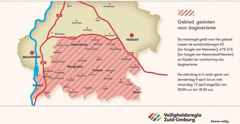 Zuid-Limburg dicht voor dagtoerisme